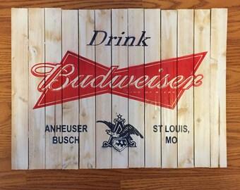 Handmade Budweiser Label Wood Wall Art