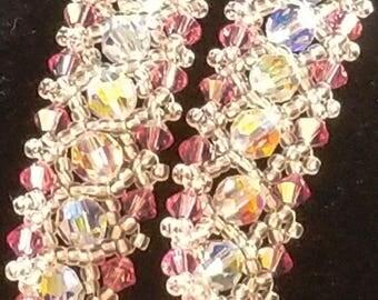 Swarovski Crystal Iridescent and Pink Bracelet