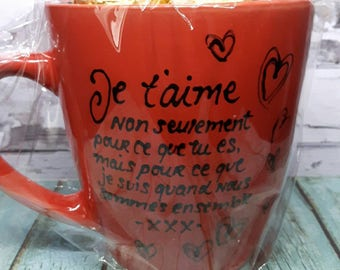 "Hand painted mug ""I love you, not just for you..."""