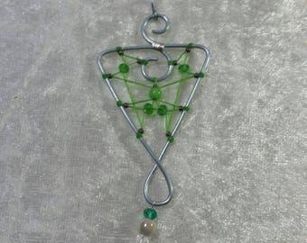 "Collection ""Steel"" - green vial pendant"