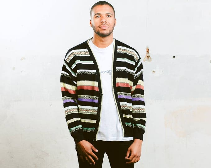 COOGI Style Cardigan . Men's Retro Knitted Cardigan 1990s Unisex Light Fitted Cotton Cardigan Boyfriend Gift Hipster Outfit . size Large
