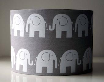 Elephant Animals Grey Drum Lampshade.