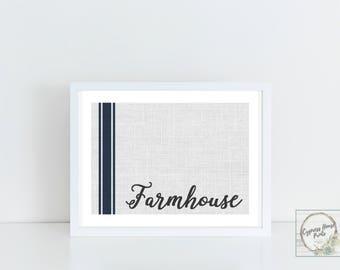 Blue Stripe Grain Sack Farmhouse - Printable Wall Art
