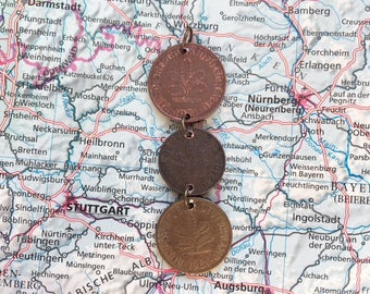 Germany coin necklace - 3 different designs - made of original pre-euro coins from Germany - travel - wanderlust - explore