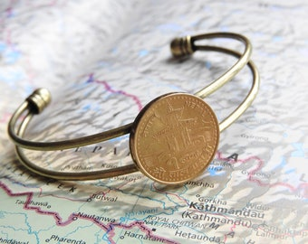 Nepal coin cuff bracelet - 2 different designs - made of original coins from Nepal - mountain - travelgift - Kathmandu