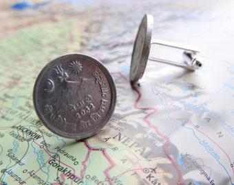Nepal coin cufflinks - 4 different designs - made of original coins from Nepal - Everest - mountain - Himalaya - travel gift