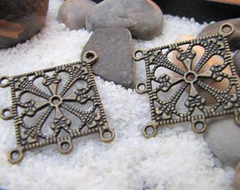 2 charms connectors - ethnic - Bronze - 34 x 34 mm