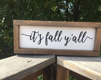 It's fall y'all,shiplap sign,gallery wall sign,subway art,farmhouse wood sign,wood sign saying,autumn sign,kitchen sign,fun fall decor