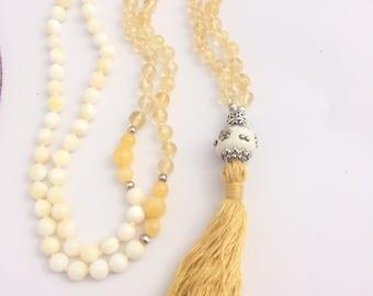 Mala. 108 beads 6mm, Citrine and Tradacna, Yellow Jade, Tibetan silver. Tassel.