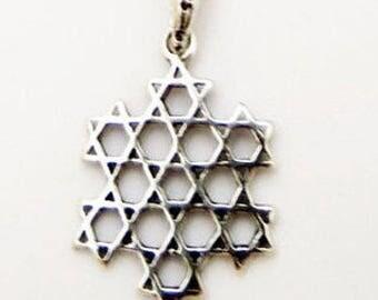 Israel Jewelry, Silver Star Of David Pendant, Silver Pendant, Gift For Him, Men's Pendant, Israeli Jewelry ,925 Sterling Silver, Judaica