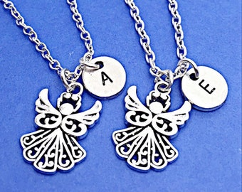 925 Sterling silver chain,best friend necklace, guardian angel necklace, silver angel necklace,angel charm,personalized,angel charm bff gift
