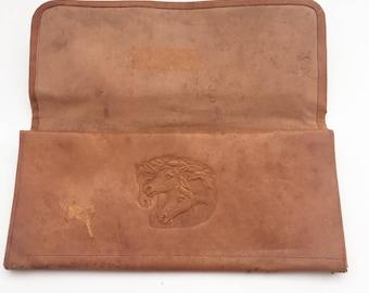Vintage Men's Leather Wallet, Vintage Leather Wallet, Vintage Men's Western Wallet, Hand Tooled Leather Wallet, Retro Mens Leather Wallet