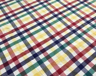 Vintage Linen Tablecloth, rectangular Table, Plaid  Linen Tablecloth Shabby Chic Rustic Farmhouse Decor Picnic Blanket