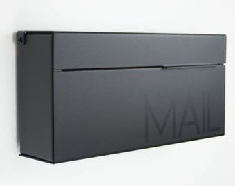 Black Modern and contemporary mailbox , Modern Mailbox, Wall Mounted mailbox - contemporary - black #147b