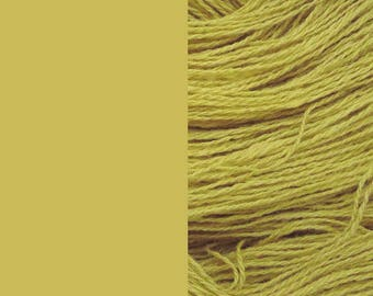 Wool Yarn, light mustard/haki, DK, 3-ply worsted knitting yarn 8/3 100g/130m
