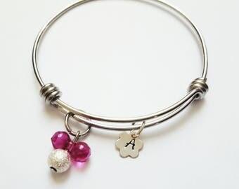 Girls adjustable bangle// Bangle for Little Girls // Sterling silver flower shape tag with initial // Mouse Charm bracelet for Girls  .