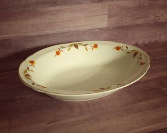 Vintage Hall's Superior Jewel Tea Co. Autumn Leaf Ruffled Oval Vegetable Bowl - Mary Dunbar