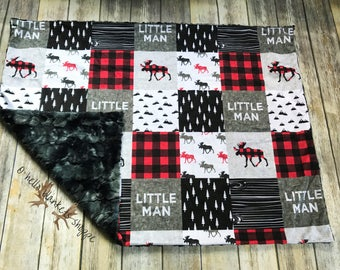 Little Man Minky Blanket- Baby Blankets- Baby Boy Nursery- Woodland Blanket- Woodland Nursery- Buffalo Plaid Blanket- Moose Blanket