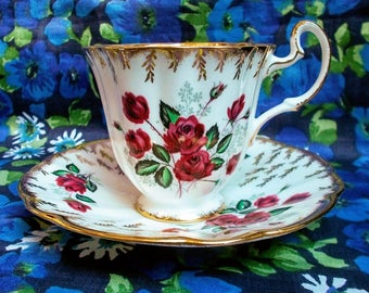 Vintage Royal Adderley Cup and Saucer - Between 1960's/1970's -  Crimson roses - Made in Longton, England - Lightly used
