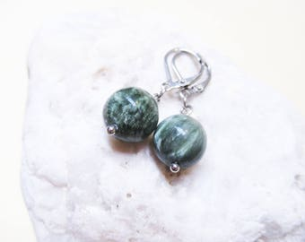 Seraphinite Earrings Gemstone Earrings Dangle Earrings Charm Earrings Seraphinite Jewelry Seraphinite Charm Angel Jewelry Natural Stones