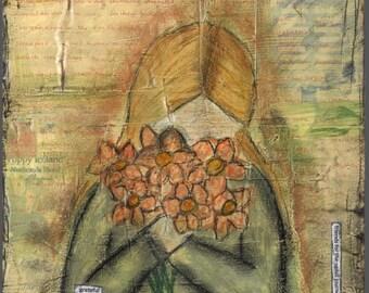 "Art Print - Giclee - Canvas - Mixed Media - ""Grateful"" - Flowers - yellow - orange - wall decor - Friendship"