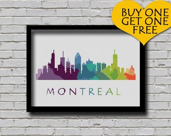 Cross Stitch Pattern Montreal Quebec Canada City Silhouette Watercolor Effect Decor Embroidery Rainbow Color Skyline xstitch E Pattern