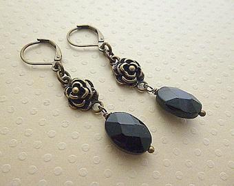 Earrings 'Cute' black / bronze