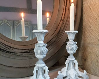 Pair of vintage candle holders tripods gray, white whitewashed effect