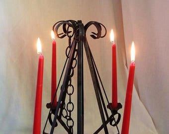 ON SALE Vintage Rustic Hanging Candle Holder Black Iron Ornate 4 Tier Chandelier Light