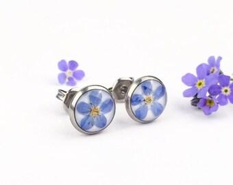 Gift for little girl, Girl earrings, Child earrings, Tiny studs with pressed flowers, Blue flowers earrings, Round stud earrings, Steel stud