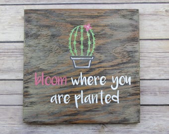 Bloom Where You Art Planted Sign, Cactus Sign, Wood Wall Sign