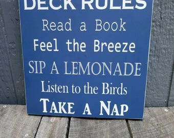 Deck Rules Sign|Porch Rules Sign|Deck Sign|Porch Sign|Deck Decor|Porch Decor|Lemonade Sign|Deck Relax Sign|Outdoor Sign|Read A Book SIgn