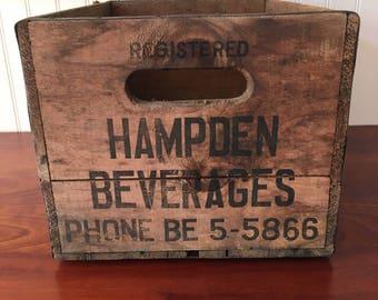 Wood Crate Vintage Hampden Bottling Company Beverage Crate Vintage Wooden Crate Beverages Crate Bottling Wooden Crate Meriden Connecticut
