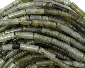 "13mm grey labradorite tube beads 16"" strand 38773"