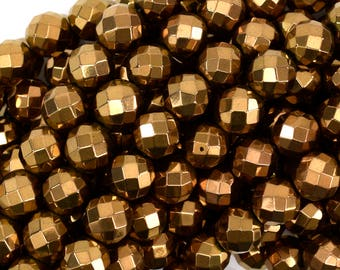 """10mm faceted copper hematite round beads 15.5"""" strand 38957"""