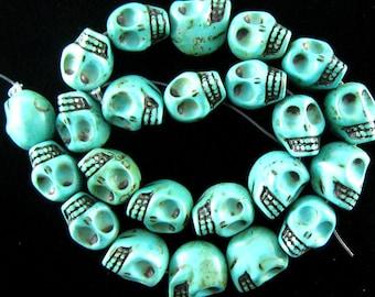 """18mm turquoise skull beads 7.5"""" strand 16005"""
