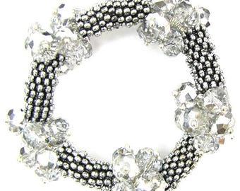 "Crystal silver plated daisy stretch bracelet 7"" grey 11845"
