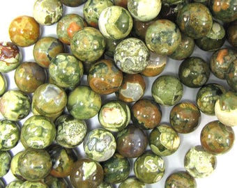 "12mm green rhyolite round beads 15.5"" strand S2 32021"