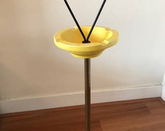 Vintage standing ashtray / metal / yellow / retro / space age / mid century
