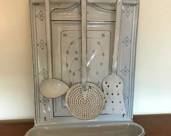 Vintage spoon rack / German / white/grey / art deco / enamel / kitchen decor / ladle holder