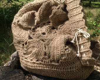 Jute crocheted backpack, backpack bag, baggy, bag, beach style, rustic style