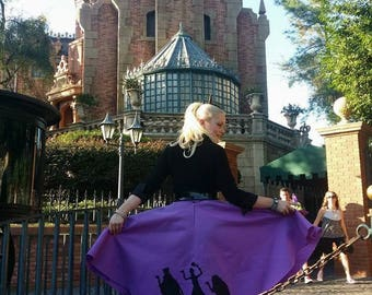 Hitch hiking ghosts haunted mansion inspired circle skirt ready to ship