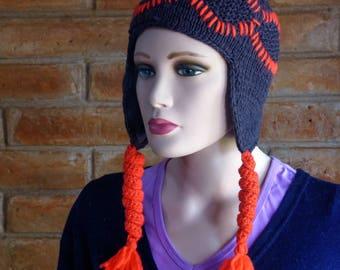 Merino Wool knit cap red and black