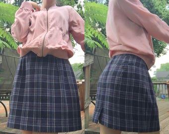 70's Blue Plaid Wool Mini Skirt