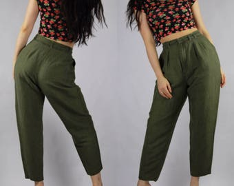 80's Olive Green Trouser Pant Vintage Clothing Retro 50's 60's 70's 90's