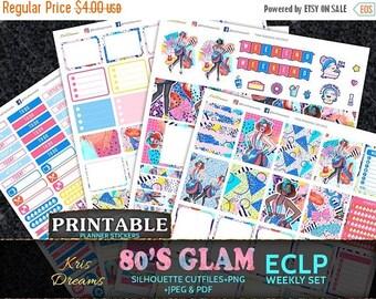 SALE 50% OFF 80s Fashion Printable Planner Stickers Erin Condren Weekly Makeup Stilleto Bracelet Heels Lipstick Woman Retro 80's Era Glitter