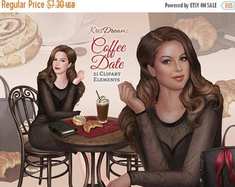 SALE 50% OFF Coffee Date Fashion Clip Art Fashion Illustration Coffee Frappe Designer Bag Cafe Table Chair Pastries Planner African American