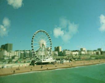 Beach Art,  Big Wheel  , Blue Beach Wall art, Seaside, Blue Decor, Fairground Wheel, Square Print