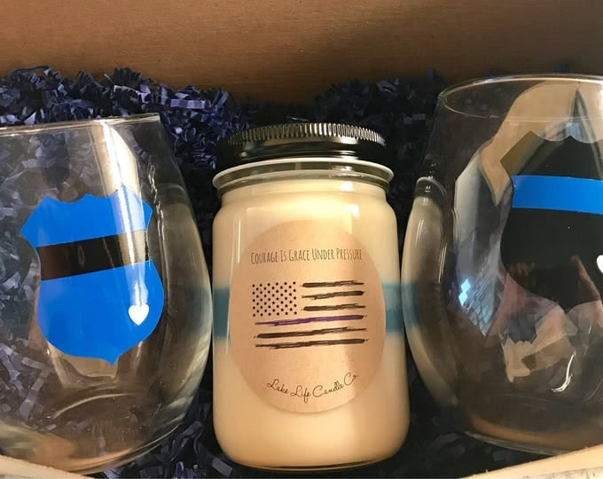 Cop Life™. Stemless Wineglasses and Soy Candle Gift Set: Thin Blue line. Lake Life Candle Co.™