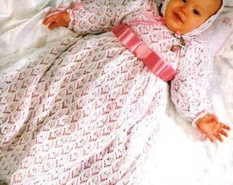 Vintage Knitting Pattern Baby Christening Gown and Bonnet